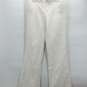 Club Monaco Womens Flare Pants Beige Ivory Flat 8